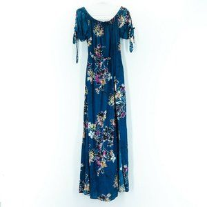 BAND OF GYPSIES Size S Teal Blue Floral Maxi Dress